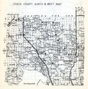 Itasca County - North and West, Arden Hurst, Grattan, Pomroy, Alvwood, Kinghurst, Squaw Lake, Bowstring, Lake Jessie, Minnesota State Atlas 1954