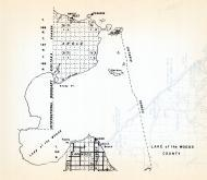 Lake of the Wood County, Angle, Lakewood, Garden Island, Penasse, Lude, Minnesota State Atlas 1954