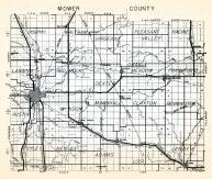 Mower County, Dolpho, Waltham, Sargeant, Pleasant Valley, Racine, Lansing, Red Rock, Minnesota State Atlas 1954