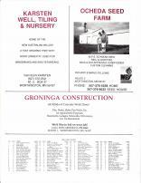 Worthington Township Owners Directory, Ad - Karsten Well, Tiling and Nursery, Ocheda Seed Farm, Groninga Construction, Nobles County 1989