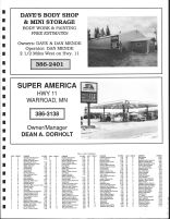 Moranville Township Owners Directory, Ad - Dave's Body Shop and Mini Storage, Super America, Roseau County 1991