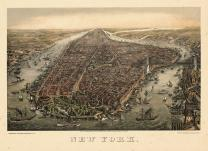 New York City 1873 Bird's Eye View Published by Schlegel 17x22, New York City 1873 Bird's Eye View Published by Schlegel