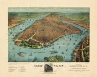 New York City 1879 Bird's Eye View Published by Rogers and Peet 17x20, New York City 1879 Bird's Eye View Published by Rogers and Peet