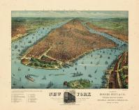New York City 1879 Bird's Eye View Published by Rogers and Peet 24x29, New York City 1879 Bird's Eye View Published by Rogers and Peet