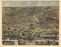 Akron 1870 Bird's Eye View 17x21, Akron 1870 Bird's Eye View
