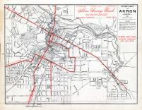 Akron - Street Map - Street Car Lines, Summit County 1891