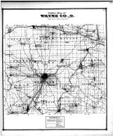 Wayne County Outline Map, Wayne County and Wooster City 1873