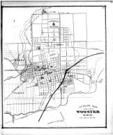 Wooster City Outline Map, Wayne County and Wooster City 1873