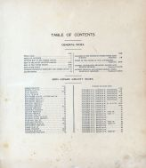 Table of Contents, Bon Homme County 1912