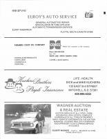 Elroy's Auto Service, Farmers Coop Oil Co, Kuchera Bros People Insurance, Wagner Aucton & Real Estate, Brule County 1986