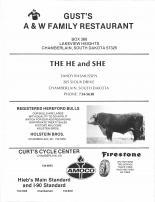 Gusts A&W Family Restaurant, The He and She, Registered Hereford Bulls, Curt's Cycle Center, Brule County 1986