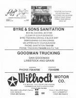 Ray's western Wear & Saddlery, Byre & Sons Sanitation, Goodman Trucking, Willrodt Motor Co., Brule County 1986