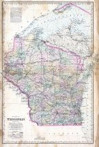 Wisconsin State Map, Waupaca County 1889