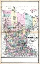 Minnesota, United States 1885 Atlas of Central and Midwestern States
