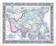 Asia, World Atlas 1864 Mitchells New General Atlas