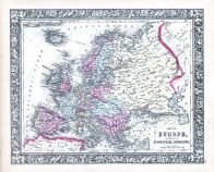 Europe, World Atlas 1864 Mitchells New General Atlas