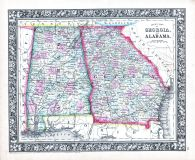 Georgia and Alabama, World Atlas 1864 Mitchells New General Atlas