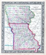 Iowa and Missouri, World Atlas 1864 Mitchells New General Atlas