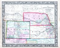 Kansas, Nebraska, Colorado and Dacotah - North, World Atlas 1864 Mitchells New General Atlas
