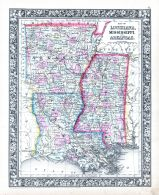 Louisiana, Mississippi and Arkansas, World Atlas 1864 Mitchells New General Atlas