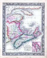 Nova Scotia, New Brunswick, Cape Breton Island and Prince Edward's Island, World Atlas 1864 Mitchells New General Atlas