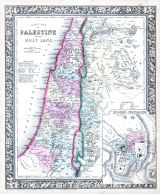 A New Map of Palestine or the Holy Land, Modern Jerusalem, World Atlas 1864 Mitchells New General Atlas