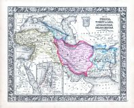 Persia, Turkey in Asia, Afghanistan, Beloochistan, World Atlas 1864 Mitchells New General Atlas