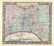 Philadelphia, World Atlas 1864 Mitchells New General Atlas
