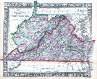 Virginia and West Virginia, World Atlas 1864 Mitchells New General Atlas