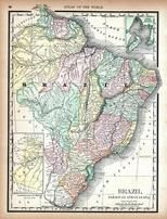 Brazil, Paraguay and Guayana, World Atlas 1890