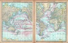 World Map Showing Ocean Currents, World Atlas 1890