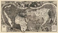 World Map 1507 Universalis Cosmographia from Amerigo Vespuccis Discoveries 44x77