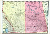 Alberta and Saskatchewan, World Maps 1906 from Wellington County Canada Atlas