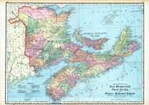New Brunswick, Nova Scotia, And Prince Edward Island - Provinces, World Maps 1906 from Wellington County Canada Atlas